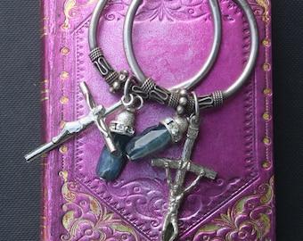Upcycled Assemblage earrings, Holy medal earrings, Exclusive, Crucifix earrings, Religious, gemstone earrings, kyanite earrings, cross,