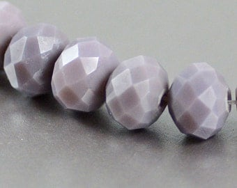 Chinese Crystal Faceted Rondelles in Opaque Lavender Pastel Purple 8x10mm