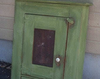 Bayberry Green, Wall Cupboard, Primitive, Reclaimed Pine, Pie Safe Tin, Made in Texas, Rustic, Artisan, Whimsy Sage ~Local Pickup Only~