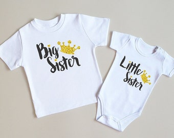 Big Sister Little Sister Outfits. Big Sister Little Sister Glitter Shirts. Little Sister Baby Bodysuit. Big Sister Shirt. Big Sister Gift.