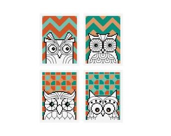 Modern Owls - Set of 4 - Durene J Cross Stitch Patterns