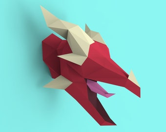 Lucky Dragon Head Papercraft PDF Pack - 3D Paper Sculpture Template with Instructions - DIY Wall Decoration - Animal Trophy