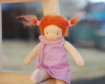 Waldorf doll - Dressable doll - Redhead - Doll with red hair - Steiner doll - 9 inch - pink dress