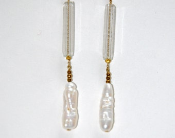 Long natural pearl earrings and old glass tubes