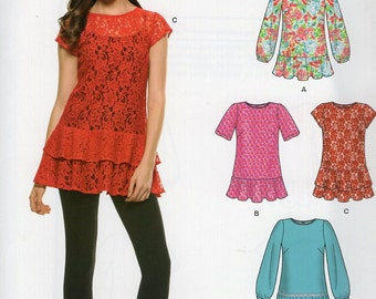 New Look 6306 Easy Blouse Tunic Sleeve Variations Ruffle Flounce Hem New-Out of Print Size 8-20 Sewing Pattern Bust 31 32 34 36 38 40 42