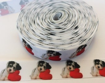Dog grosgrain ribbons,puppy ribbons,canine ribbons, animal ribbons, 1 inch grosgrain ribbon perfect for scrabooking and more