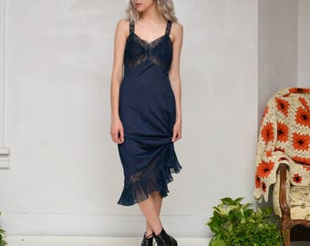 60s vintage delicate navy blue lace ruffle slip dress