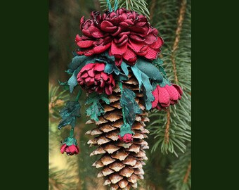 Pinecone Ornament with Handmade Ribbonwork Chrysanthemums