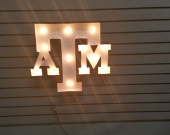 Metal Texas A&M sign, Lighted Texas Sign, Lighted College Station Sign, Texas Aggies Sign, Man Cave Decor, Man Cave Sign, Lighted Sign