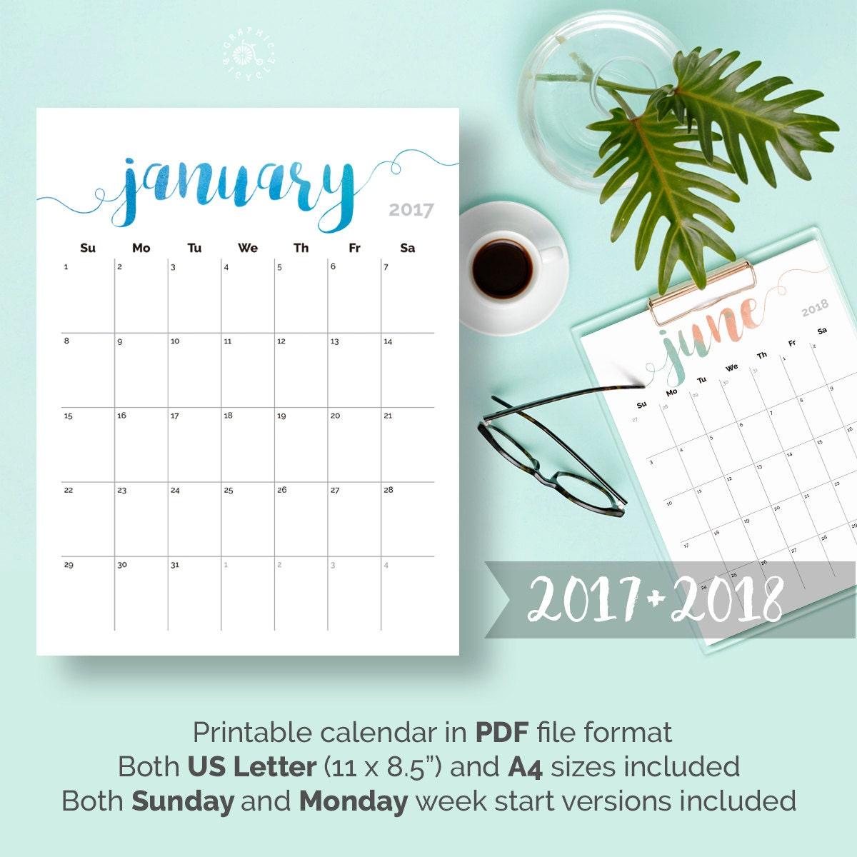 Printable Monthly Calendars 2018: 2017 2018 Calendar PRINTABLE Desk Calendar Planner Watercolor