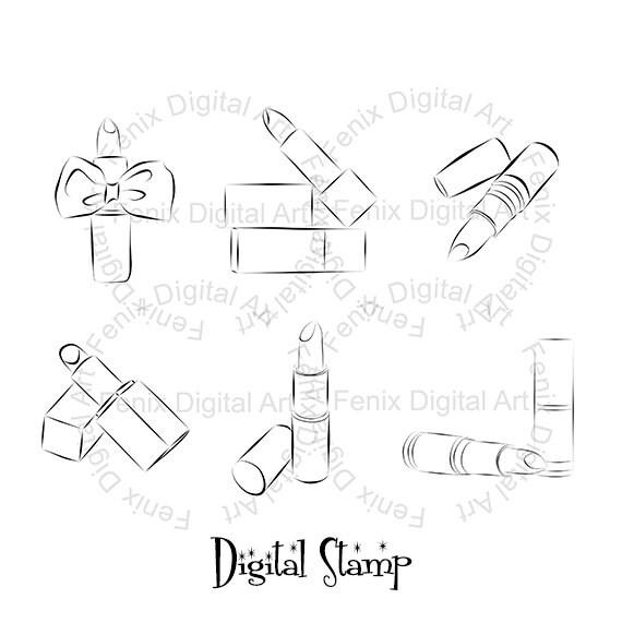 Digital Stamp,Clipart,Line art,Fashion Lipstick, Lipstick graphics,make up,Digi stamp,digistamp,fashion Illustration INSTANT DOWNLOAD