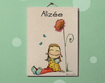 Sunflower girl picture and butterflies, craft, Drawing personalized with name, watercolour