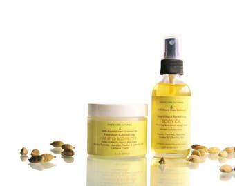 Nourishing & Revitalizing  Cocoa Shea Whipped Body Butter and Sweet Almond Vitamin E Body Massage Oil 100% Natural