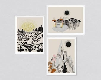 Art print set, modern print art, set of 3 prints, set of 3 wall art, print set, art prints, modern abstract, abstract landscapes, landscape