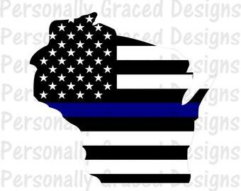 SVG, DXF, EPS Cut file Wisconsin State Flag Thin Blue Line svg, Wisonsin Svg, Police svg, silhouette cut file, cameo file, Thin Blue Line
