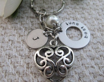 Best Aunt keyring Gift, Personalized keychain Gift for aunt, hand stamped initial keyring, Aunt Gift, Auntie gift. Godparent Gift, Baby
