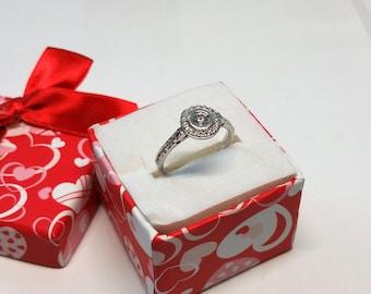 17.7 mm ring Silver 925 crystals precious beautiful vintage SR784