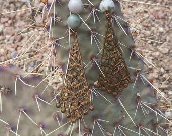 Peace Jade Metal Earrings
