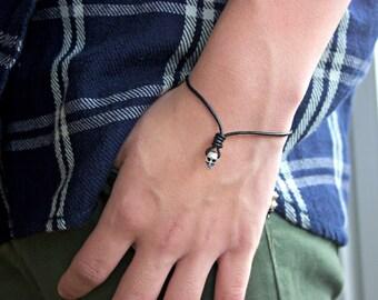 Men's Skull Bracelet / Men's Leather Skull Bracelet