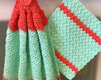 Crochet Towel and Dishcloth, Crochet, Turquoise, Coral, Towel, Dishcloth