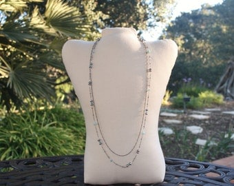 Multi Chain and Gemstones Necklace, Layered Chains Necklace, Gray Pearls and Aqua Crystals Necklace, Aqua Gemstones and Chain Necklace