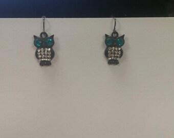 Black Metal with Aqua and White Crystal Owl Earrings