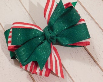 Candy Cane Striped Hairbow