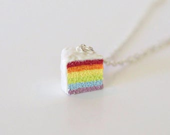 Rainbow Cake Charm, cake charm, cake necklace, birthday cake, keychain, miniature food jewelry, foodie gift, food jewelry, foodie jewelry