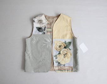 english rose print | patchwork vest | 90s floral vest