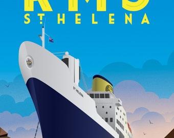 RMS St Helena Souvenir 1990 - 2018 Poster