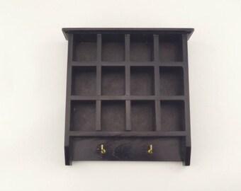 Small Vintage Black Wooden Thimble Rack - Vintage Wall Hanging - Trinket Rack or Holder - Vintage Wall Decoration - 12 Slots and 2 Hooks