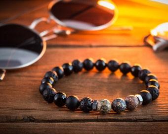 8mm - Black onyx, lava stone & leopard skin beaded stretchy bracelet, made to order lava bracelet, mens bracelet, womens bracelet