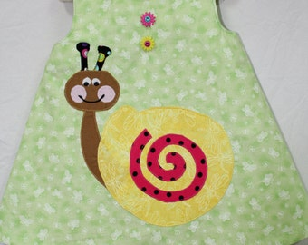 Baby Girl Dress, Sun Dress for Girls, Toddler Sun Dress,Appliqued Dress with Snail,Personalized baby dress, Personalized Toddler dress