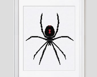 Cross Stitch Pattern instant download PDF,  Black Widow cross stitch pattern, Modern black widow spider cross stitch