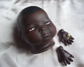 Bisque African American Baby ByLo Doll Parts Head Hands Grace Putnam Reproduction FREE SHIPPING