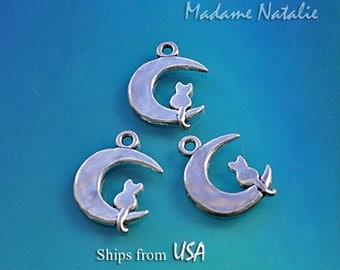 Cat Moon Charms 24x18mm (4), I LOVE MY CAT Charms, Tibetan Silver Cat on Moon Charms, Cat and Moon Pendant, Cat Lover Charm