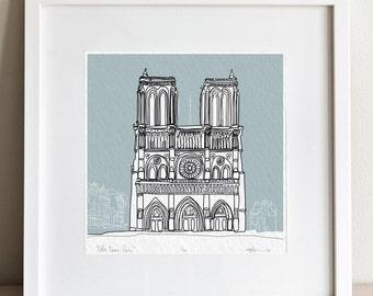 Paris Notre Dame doodle print