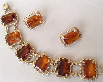 Sarah Cov Large Faux Amber Rhinestone Bracelet and Clip On Earring Jewelry Set