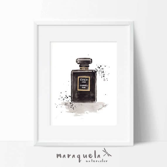 COCO Chanel Parfum BLACK bottle ORIGINAL watercolor handmade. Coco Noir Chanel Paris Black perfume, Style Modern art wall.Fashion Decor Mode