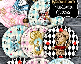 Alice in Wonderland Clocks - Printable Clocks - Vintage Alice - Alice in Wonderland Party - Alice in Wonderland Printable - Alice Decoration