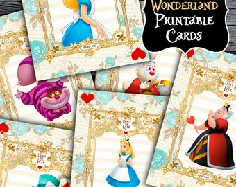 Alice in Wonderland Printable Cards - Alice in Wonderland Cards - Alice in Wonderland Birthday Party - Printable Signs - Party Decorations