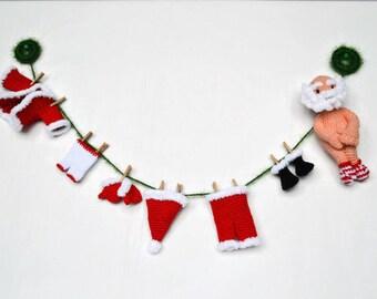 Christmas Crochet garland Santa Claus Christmas decoration Christmas gift Merry Christmas Crochet Santa Holiday garland Xmas fireplace decor