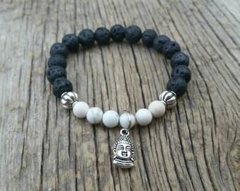 Buddha Howlite and Lava Stone Diffuser Bracelet - For Essential Oils