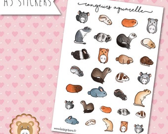 """Rodents watercolor"" stickers"