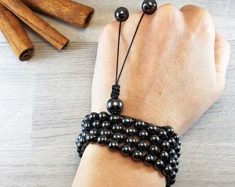 Dark Gray Hematite, Hematite Mala, 108 Mala, 108 Mala Bracelet, Mens Mala Bracelet, 108 Mala Beads, 108 Prayer Beads, Boho Necklace, Knotted