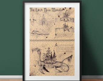 The Loch Ness Monster (Nessie) - Folklore Art Print