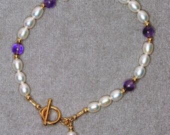 Frashwater pearl and amethyst bracelet - g0453b02