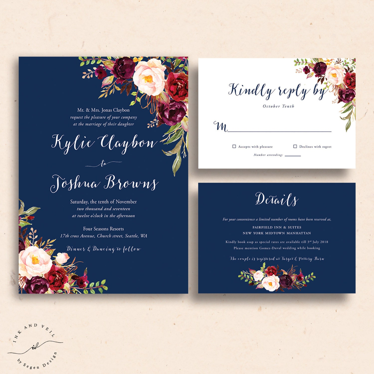 navy floral wedding invitations navy wedding invite marsala