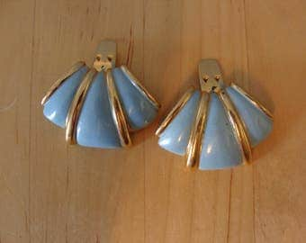 Vintage Shoe Clips Deco Style Blue Gold 60's Bluette Made in France Goldtone Fabulous 1960's Mod Retro Fun Accessory Statement Clips Fun