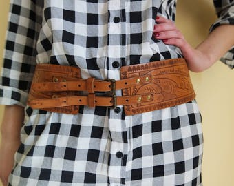 Vintage Brown Corset Two Buckle Belt , Brown Waist Belt, Elastic, Boho Chic Belt, 1990s Bohemian Belt, Hippie Style Belt
